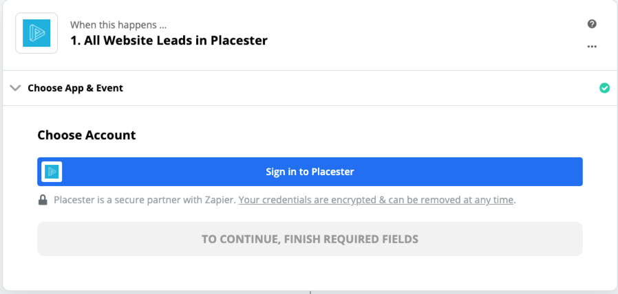 Click to connect Placester