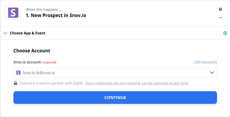Snov.io connection successfull