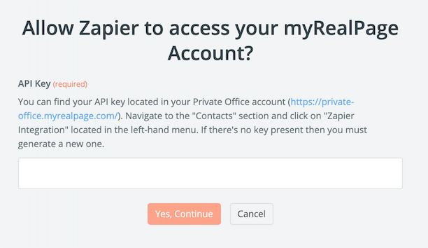 myRealPage API Key