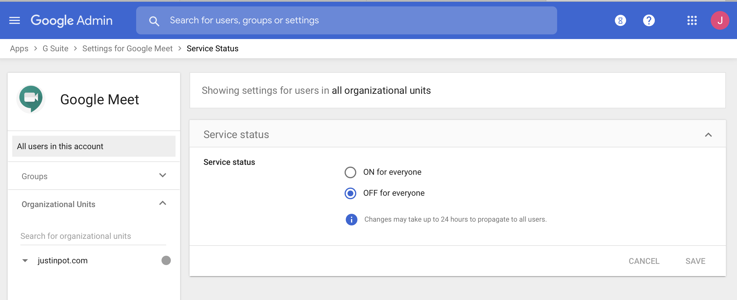 Turn off Google Meet in Google admin