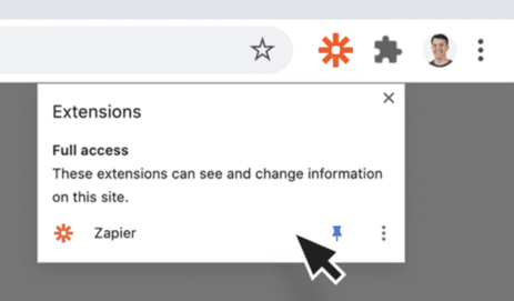 Pin the Zapier Chrome extension to the toolbar