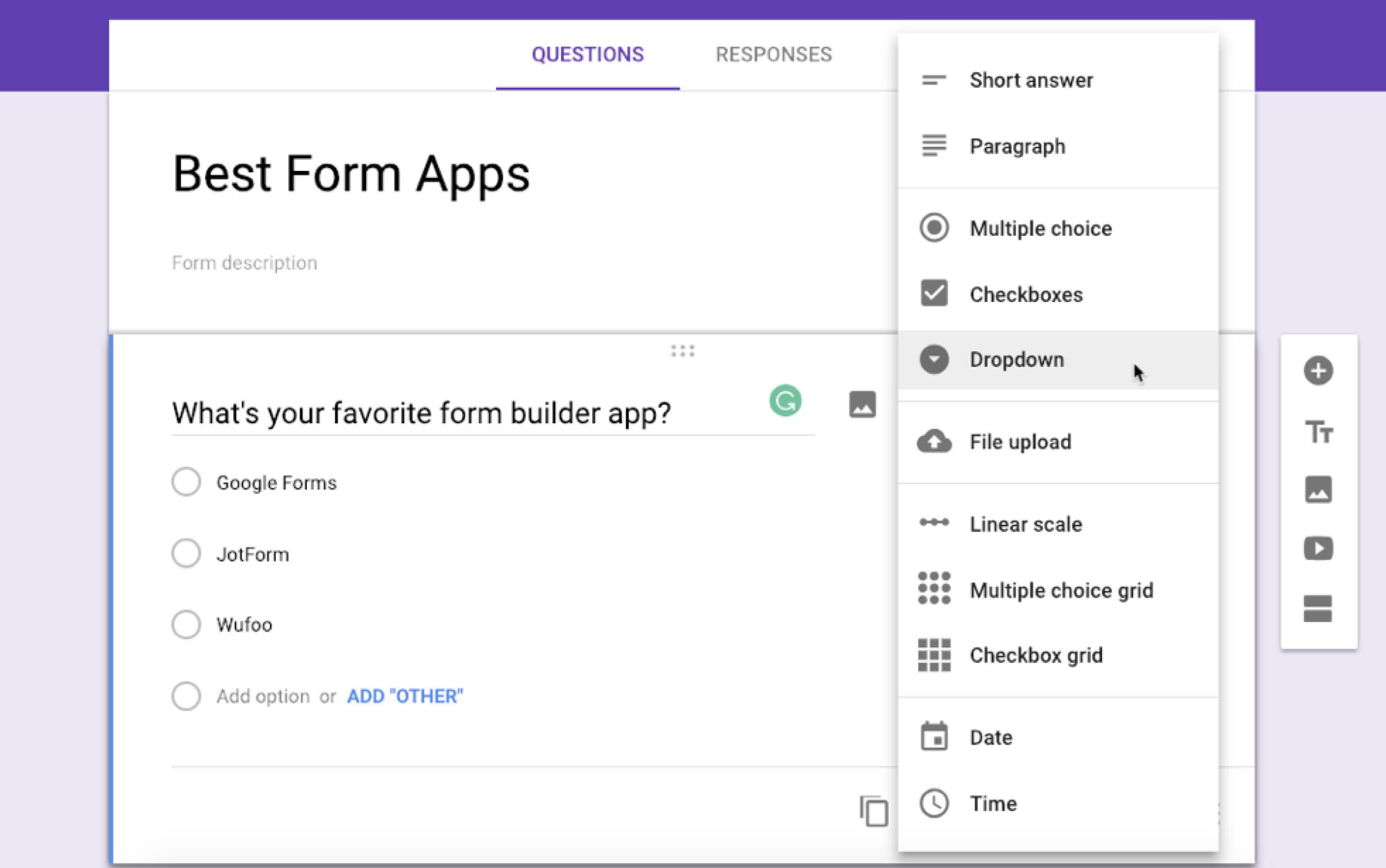 Google Forms screenshot