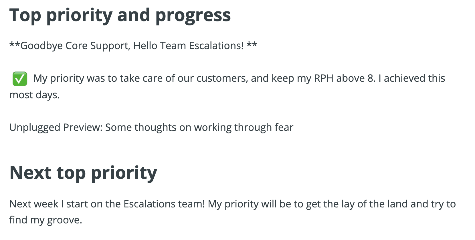 A screenshot of Breetel's Friday Update, where her top priority is My priority was to take care of our customers, and keep my RPH above 8. I achieved this most days.