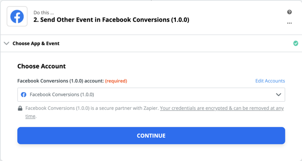 Facebook Conversions connection successfull