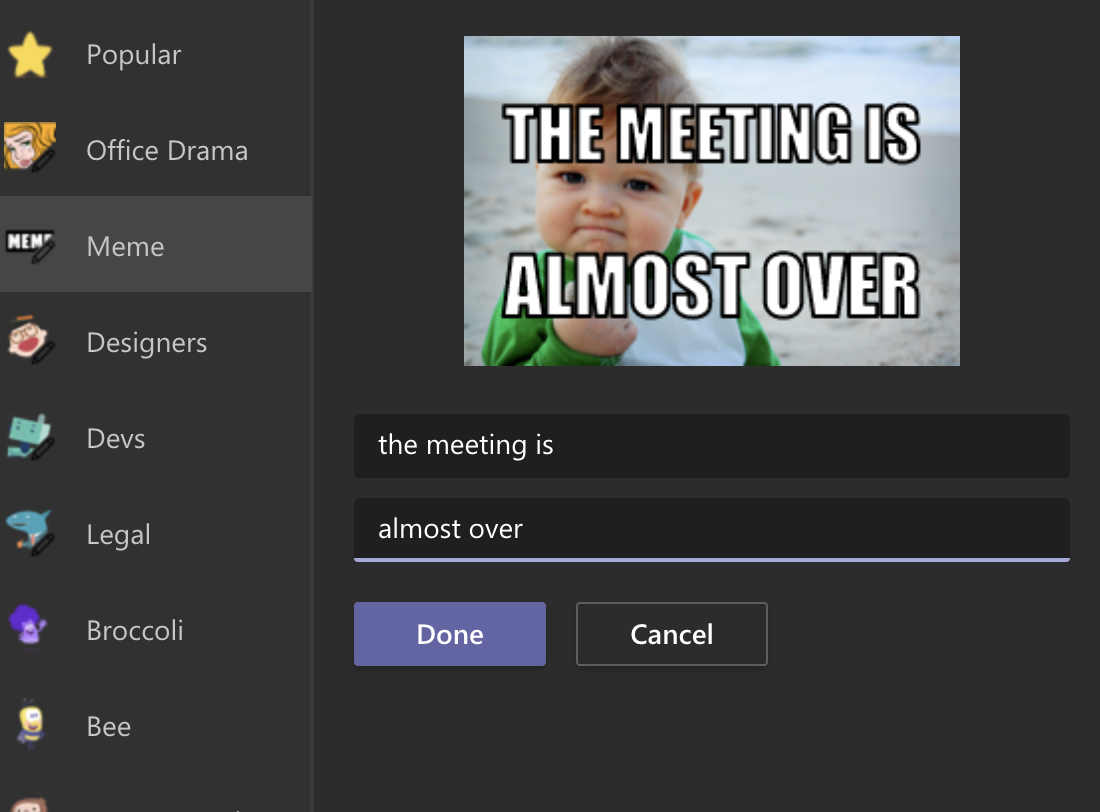 Meme generator in Microsoft Teams