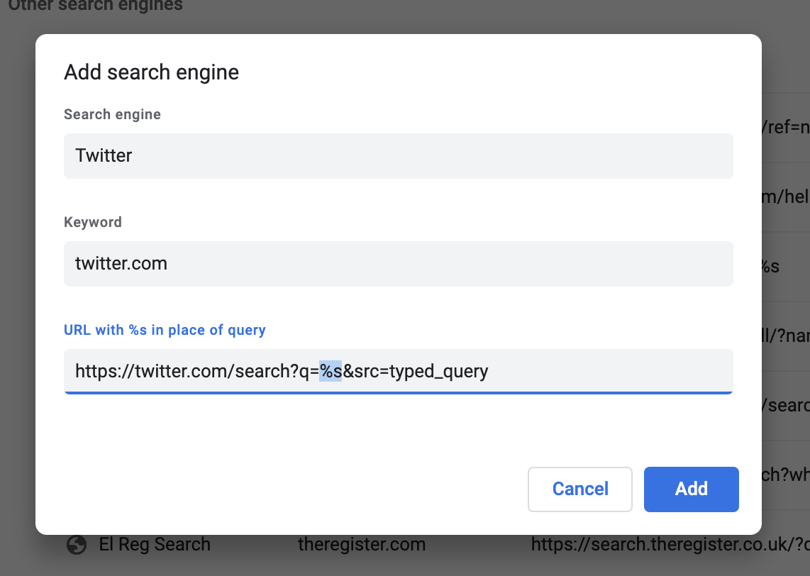 Adding Twitter as a search engine in Chrome