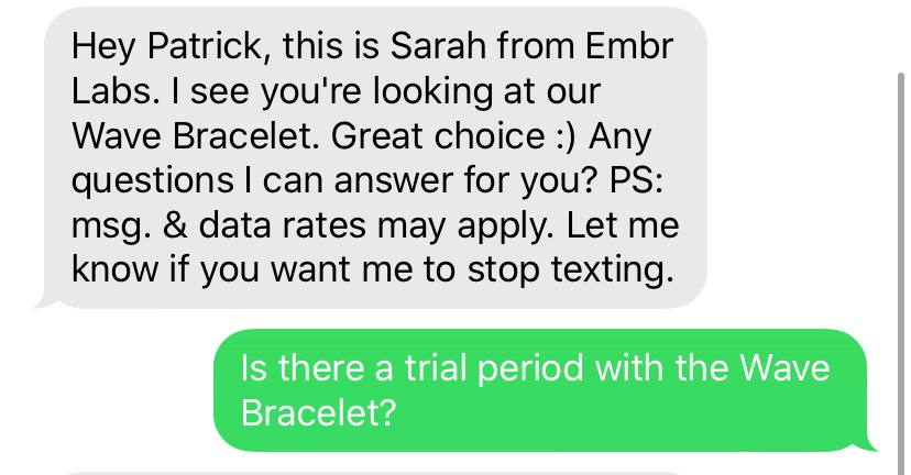 A text message exchange from Embr labs where they text the customer asking if they have any questions and the customer replies to ask if there's a trial period