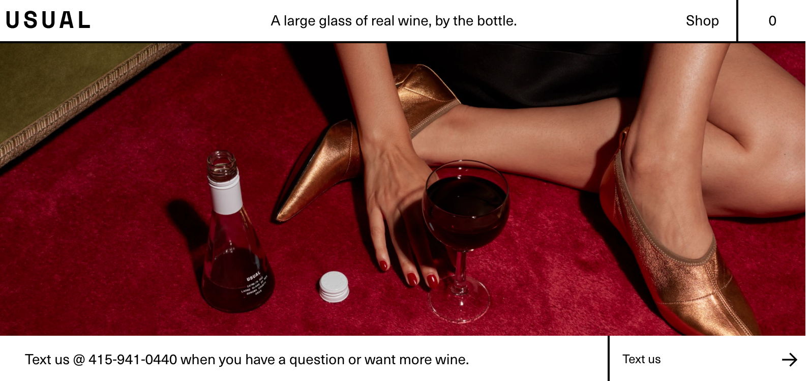 An image from Usual Wines' website showing that you can text them with questions