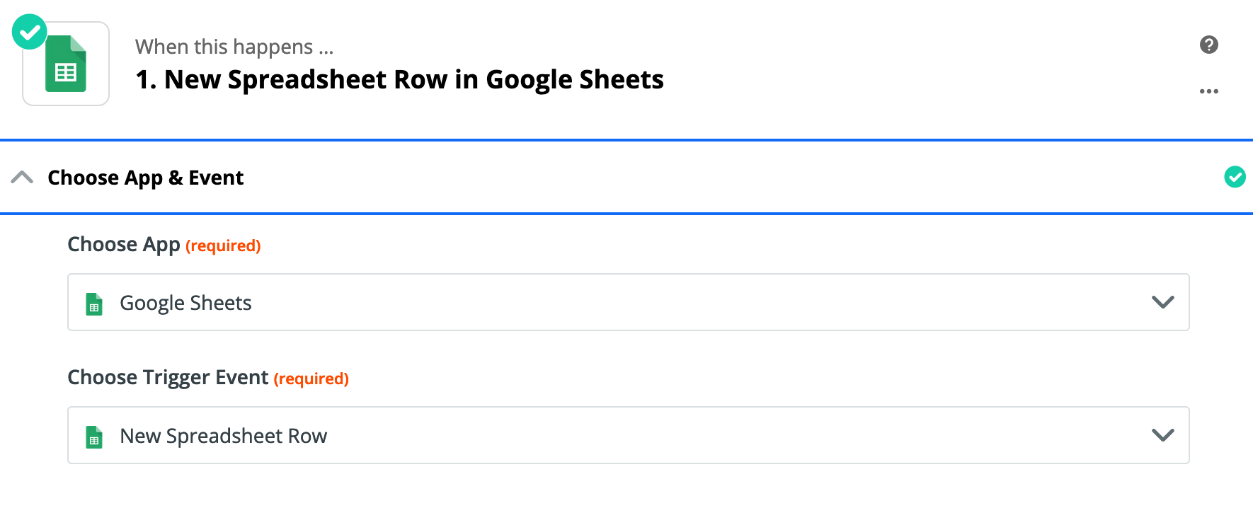 First step of the Google Sheets Zap