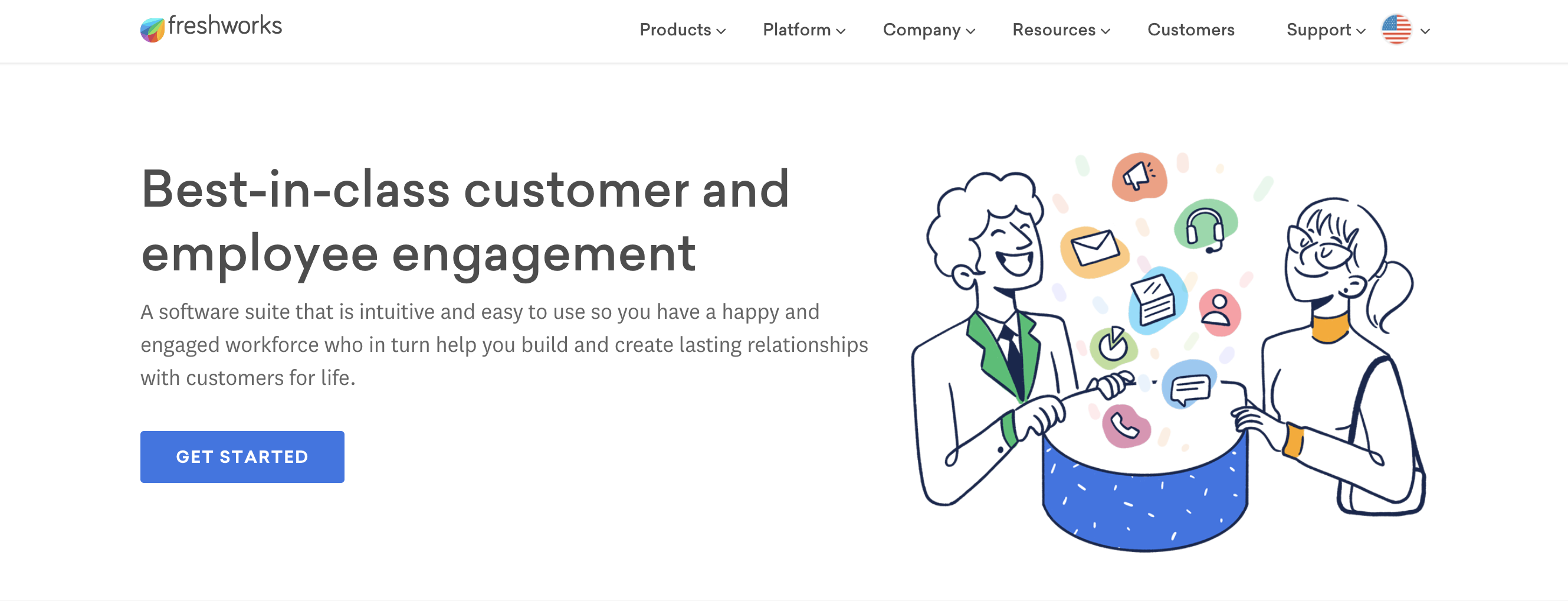 Freshworks CRM home page