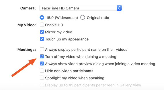 Zoom video options