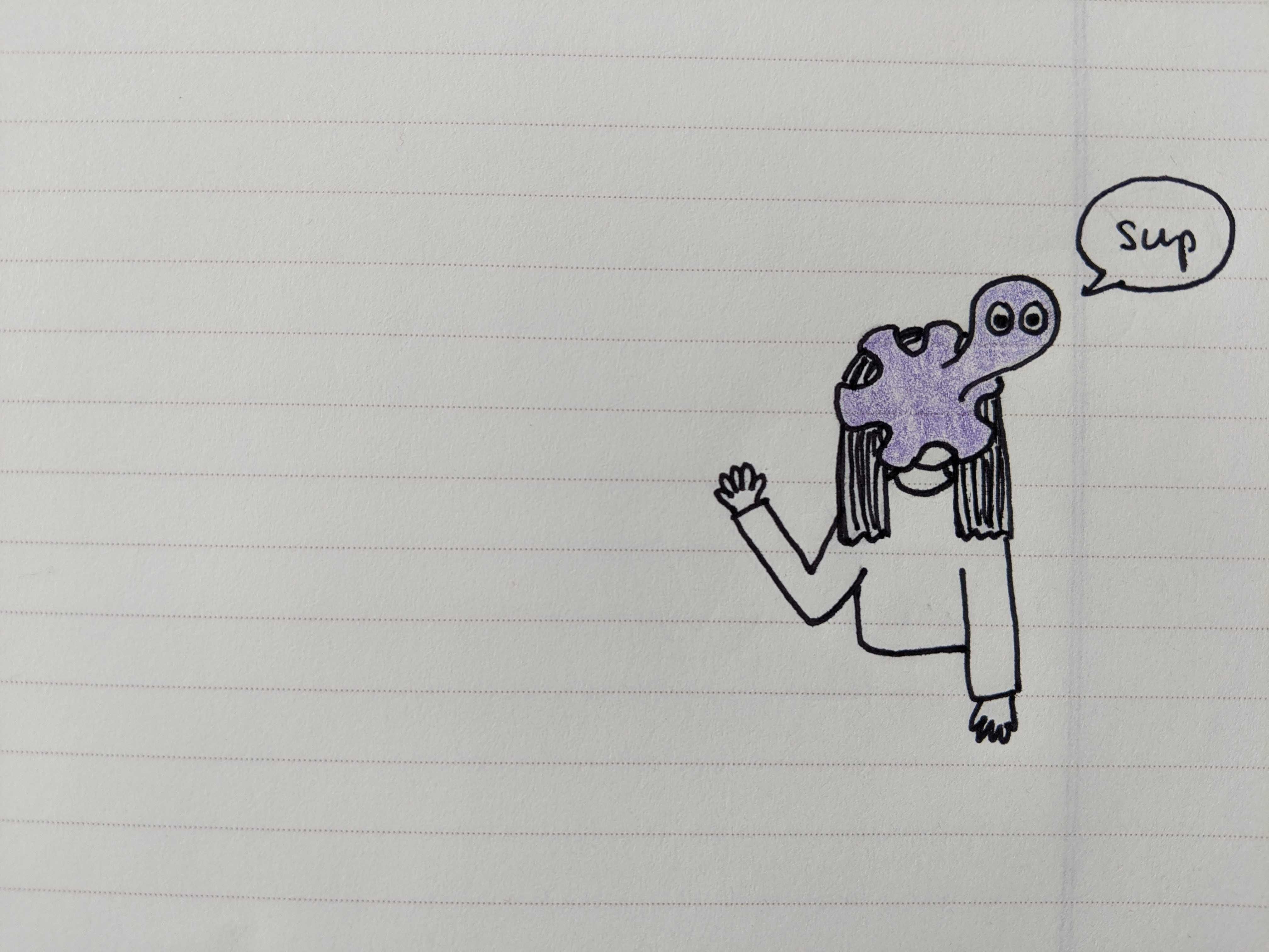 A doodle of an octopus attached to a face