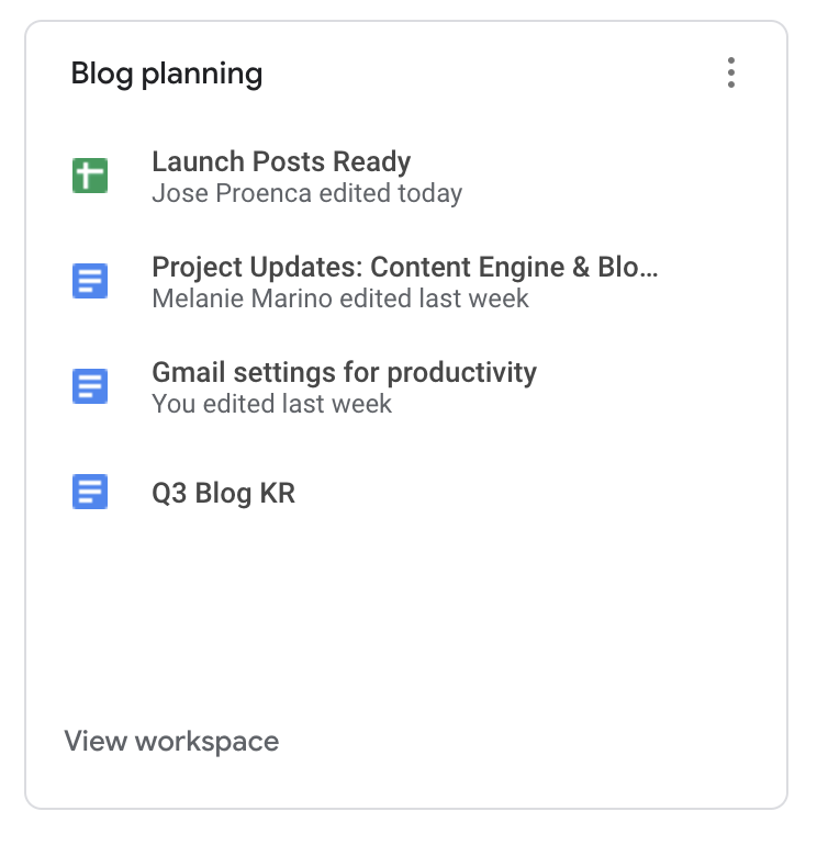 A priority workspace in Google Drive