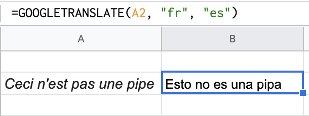 Translating French to Spanish with Google Translate