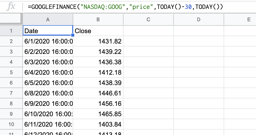 Pulling in financial data in Google Sheets