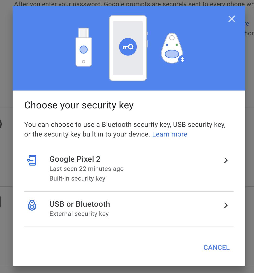 Google YubiKey setup