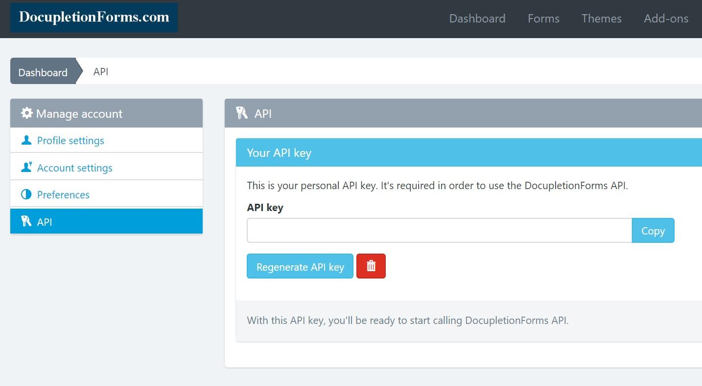 DocupletionForms API Key in account