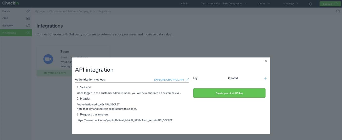 Checkin.no API Key in account