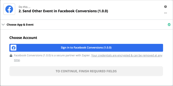 Click to connect Facebook Conversions