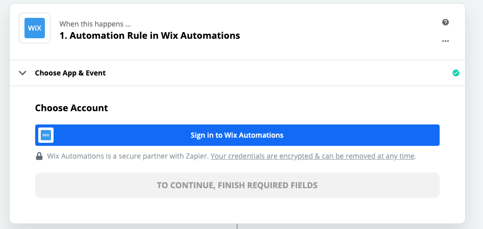 Click to connect Wix Automations