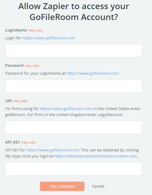 GoFileRoom API Key