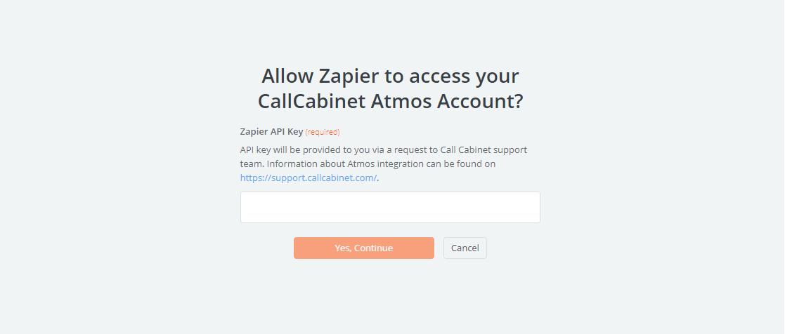 CallCabinet Atmos API Key